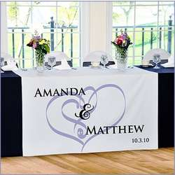 Personalized Embracing Hearts Reception Table Runner