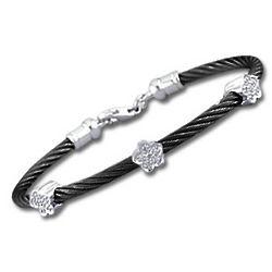 Black Stainless Steel Diamond Flower Bracelet