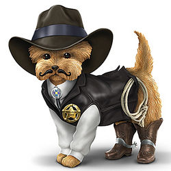 Cowboy Yorkie Figurine with Sheriff Uniform