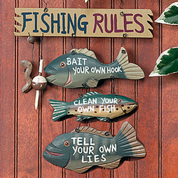 "Wood ""Fishing Rules"" Sign"