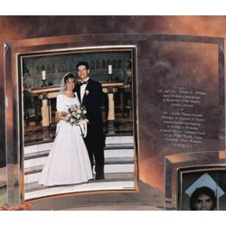 "Personalized 5 x 7"" Vertical Bent Crystal Picture Frame"