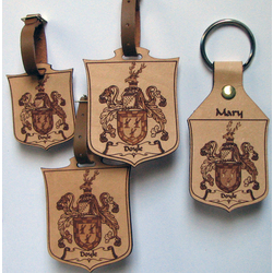Leather Coat of Arms Luggage Tag Set