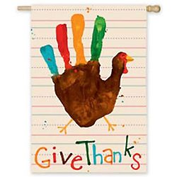 Give Thanks Handprint Turkey Flag
