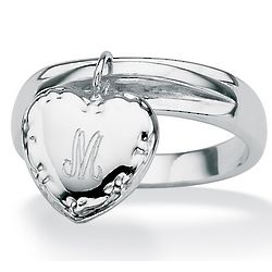 Personalized Heart Charm Ring