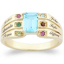 Mother's Emerald-Cut Birthstone and Family Name Ring