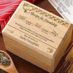 Recipe for Friendship Bamboo Recipe Box
