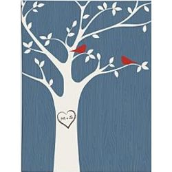 Personalized Tree Initials Blue Wall Art
