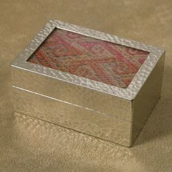 Small Pewter and Cotton Keepsake Box