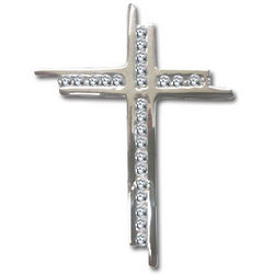 Men's Sterling Silver Cubic Zirconia Cross Pendant