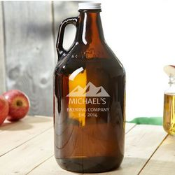 Rocky Mountains Brown Personalized Beer Growler