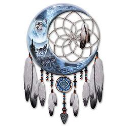 Starlit Sentinels Illuminated Wolf Art Dreamcatcher
