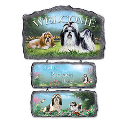 Lovable Shih Tzus Personalized 3-Plaque Welcome Sign