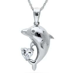 Sterling Silver CZ Dolphin Pendant
