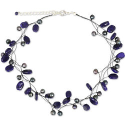 Ethereal Pearl and Lapis Lazuli Choker