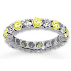 Yellow Sapphire and Diamond 14K White Gold Eternity Band