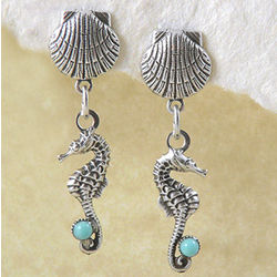 Seahorse Earrings with Turquoise Accents