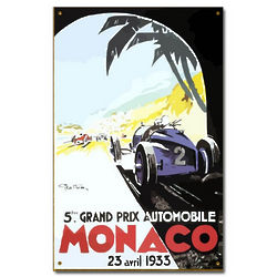 1933 Monaco Grand Prix Vintage Car Sign