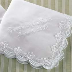 Embroidered Scalloped Lace Wedding Handkerchief