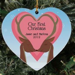 Personalized Ceramic Heart Our First Christmas Ornament