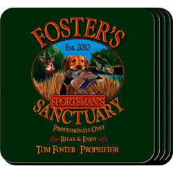 Personalized Coaster Set with Sportsman Image