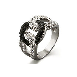 Black and Clear CZ Love Knot Ring