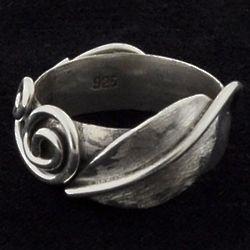 Sterling Spiral Leaflet Ring