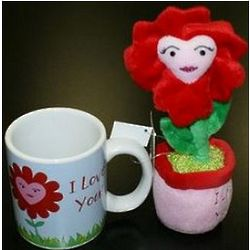 Plush Flower and I Love You Mug Set