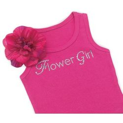 Flower Girl Tank Top with Removable Silk Flower