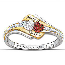 Two Hearts Become One Personalized Gemstone and Diamond Ring