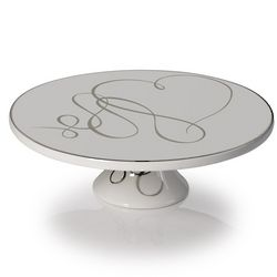 Love Story Footed Cake Plate