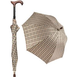 Plaid Umbrella Derby Adjustable Walking Cane with Auto Spring