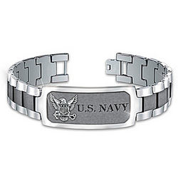 Men's Personalized Navy Pride Stainless Steel ID Bracelet