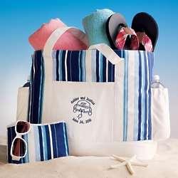 Blue and White Stripe Beach Bag