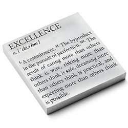 Excellence Definition Personalized Metal Paperweight