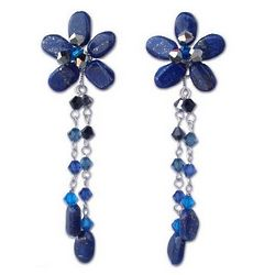 'Blue Bouquet' Lapis Lazuli Floral Earrings