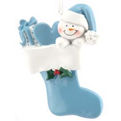 Personalized Snow Baby in Blue Stocking Ornament