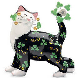 Whimsical Irish Kitty Figurine