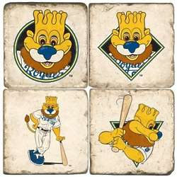 Kansas City Royals Mascot Tumbled Italian Marble Coasters