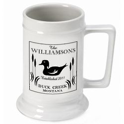Personalized Wood Cabin Duck Stein