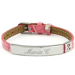 Pink Leather Breast Cancer Awareness ID Bracelet