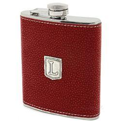 Pewter Monogrammed Burgundy Hip Flask