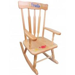 Child's Deluxe Victorian Natural Wood Rocking Chair