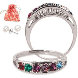 I Love You Family Birthstone Ring and Pearl Earrings