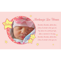 Personalized Pink Twinkle Baby Canvas