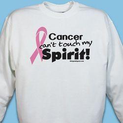 Cancer Can't Touch My Spirit! Pink Hope Ribbon Spirit Sweatshirt