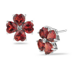 Diamond and Garnet Heart Stud Earrings
