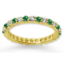 Emerald and Diamond 14K Yellow Gold Eternity Band