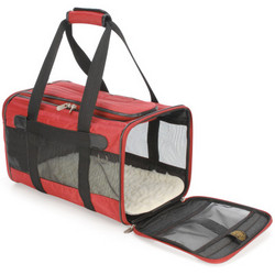 Deluxe Medium Sherpa Bag Pet Carrier in Red