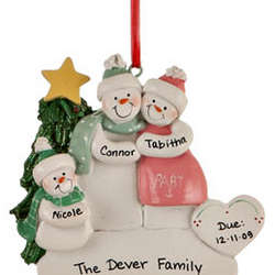 Personalized Expecting Family of 3 Christmas Ornament