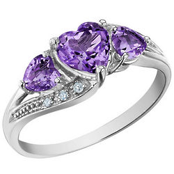 Amethyst Heart Ring with Diamonds